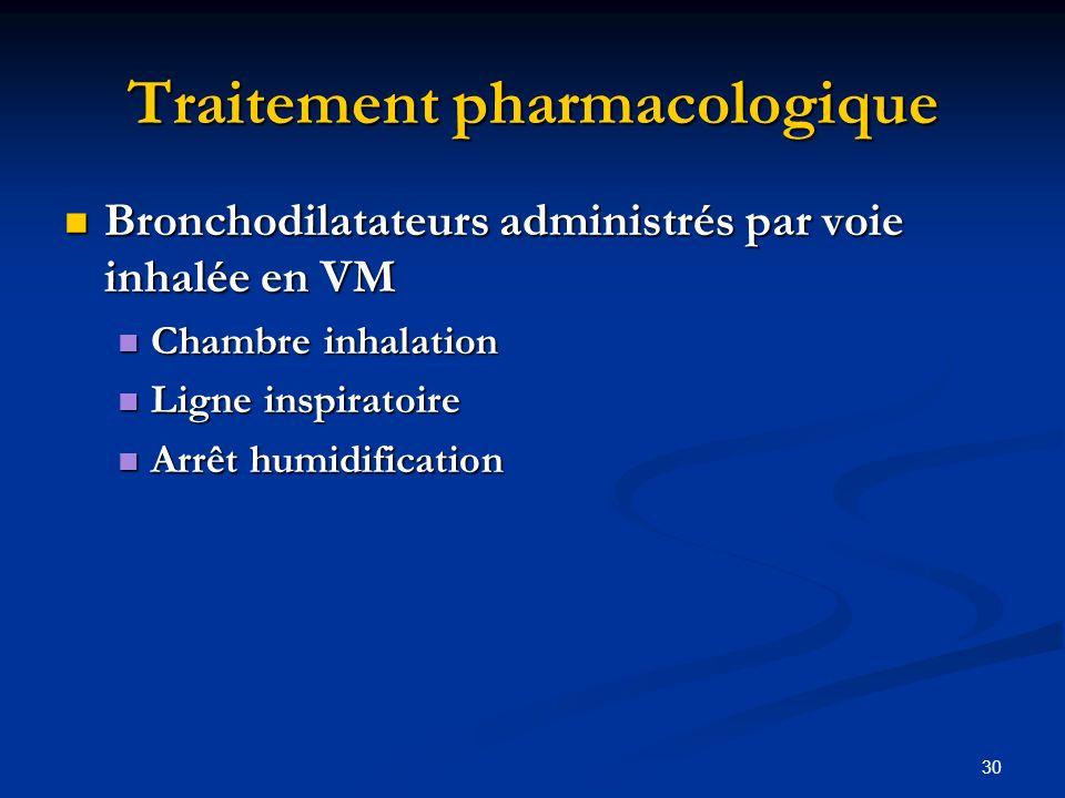 30 Traitement pharmacologique Bronchodilatateurs administrés par voie inhalée en VM Bronchodilatateurs administrés par voie inhalée en VM Chambre inha