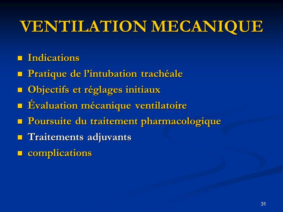31 VENTILATION MECANIQUE Indications Indications Pratique de lintubation trachéale Pratique de lintubation trachéale Objectifs et réglages initiaux Ob