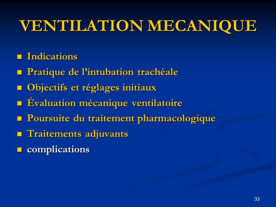 33 VENTILATION MECANIQUE Indications Indications Pratique de lintubation trachéale Pratique de lintubation trachéale Objectifs et réglages initiaux Ob
