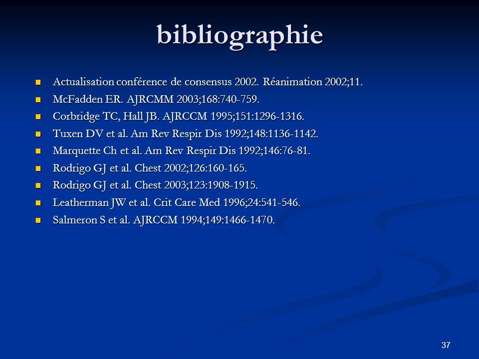 37 bibliographie Actualisation conférence de consensus 2002. Réanimation 2002;11. Actualisation conférence de consensus 2002. Réanimation 2002;11. McF