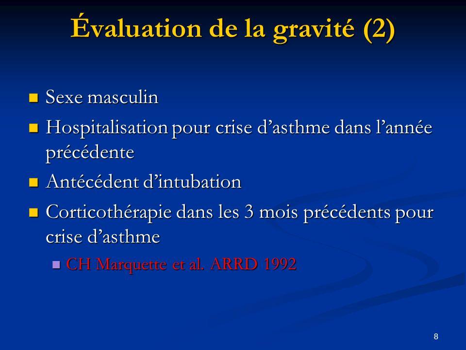 8 Sexe masculin Sexe masculin Hospitalisation pour crise dasthme dans lannée précédente Hospitalisation pour crise dasthme dans lannée précédente Anté