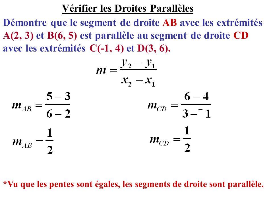 Démontre que le segment de droite AB avec les extrémités A(2, 3) et B(6, 5) est parallèle au segment de droite CD avec les extrémités C(-1, 4) et D(3,