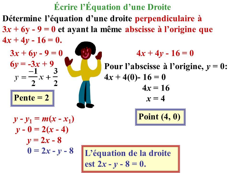 Détermine léquation dune droite perpendiculaire à 3x + 6y - 9 = 0 et ayant la même abscisse à lorigine que 4x + 4y - 16 = 0. 3x + 6y - 9 = 0 6y = -3x