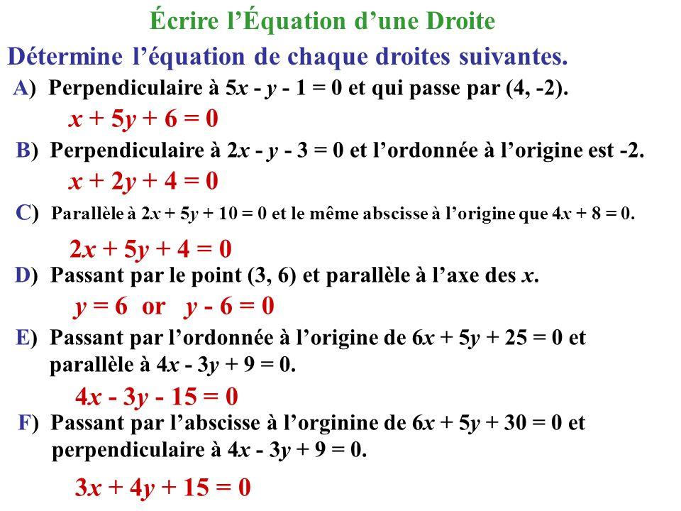 Détermine léquation de chaque droites suivantes. A) Perpendiculaire à 5x - y - 1 = 0 et qui passe par (4, -2). B) Perpendiculaire à 2x - y - 3 = 0 et
