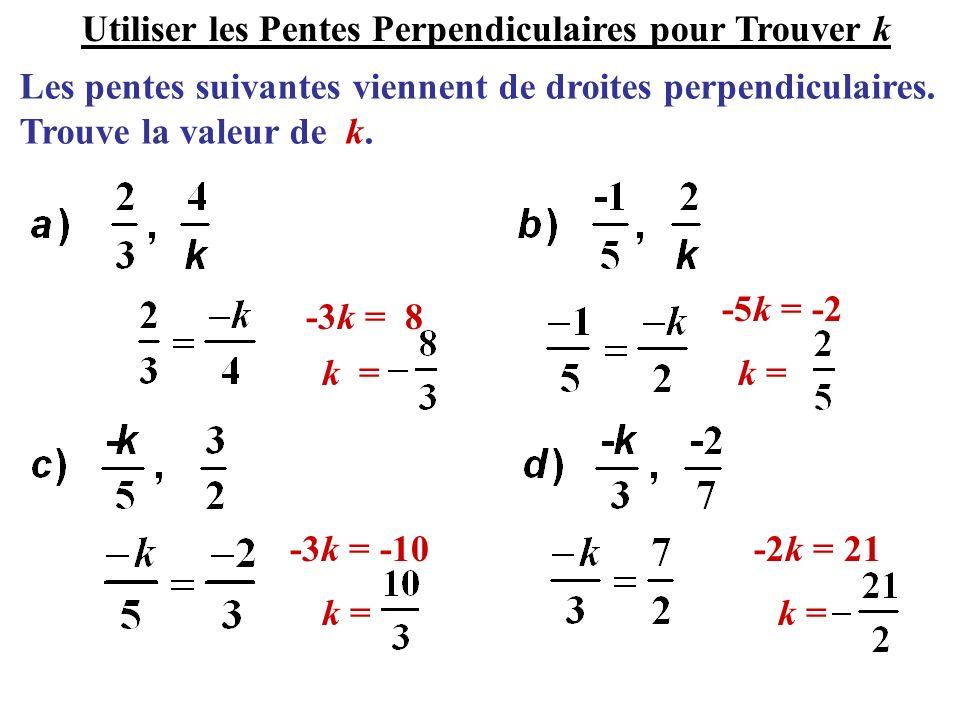 Les pentes suivantes viennent de droites perpendiculaires. Trouve la valeur de k. -3k = 8 -5k = -2 -3k = -10-2k = 21 Utiliser les Pentes Perpendiculai