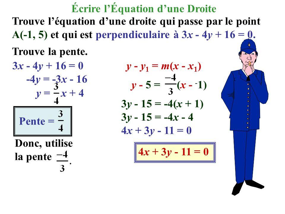 Trouve léquation dune droite qui passe par le point A(-1, 5) et qui est perpendiculaire à 3x - 4y + 16 = 0. Trouve la pente. 3x - 4y + 16 = 0 -4y = -3