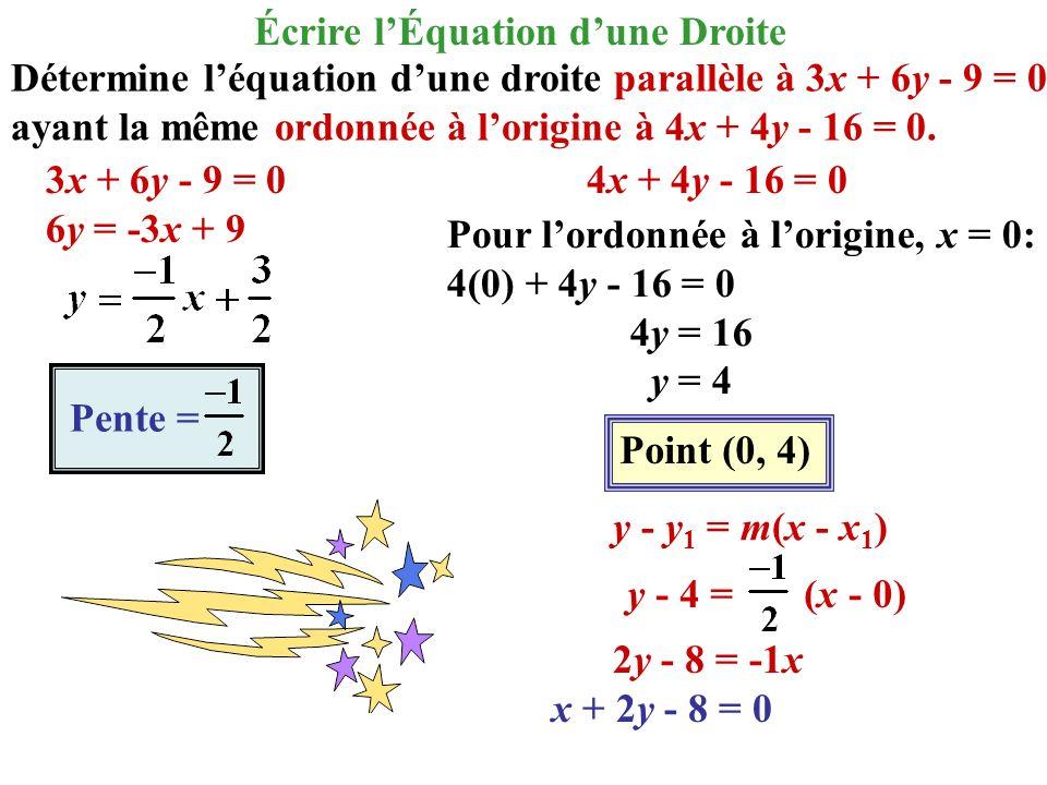 Détermine léquation dune droite parallèle à 3x + 6y - 9 = 0 ayant la même ordonnée à lorigine à 4x + 4y - 16 = 0. 3x + 6y - 9 = 0 6y = -3x + 9 4x + 4y
