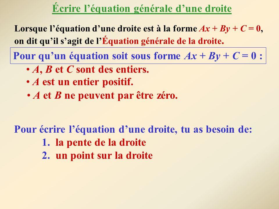 Lorsque léquation dune droite est à la forme Ax + By + C = 0, on dit quil sagit de lÉquation générale de la droite. Pour quun équation soit sous forme