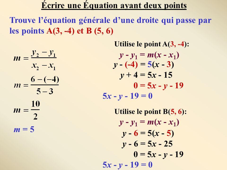 Trouve léquation générale dune droite qui passe par les points A(3, -4) et B (5, 6) m = 5 y - y 1 = m(x - x 1 ) y - (-4) = 5(x - 3) y + 4 = 5x - 15 0
