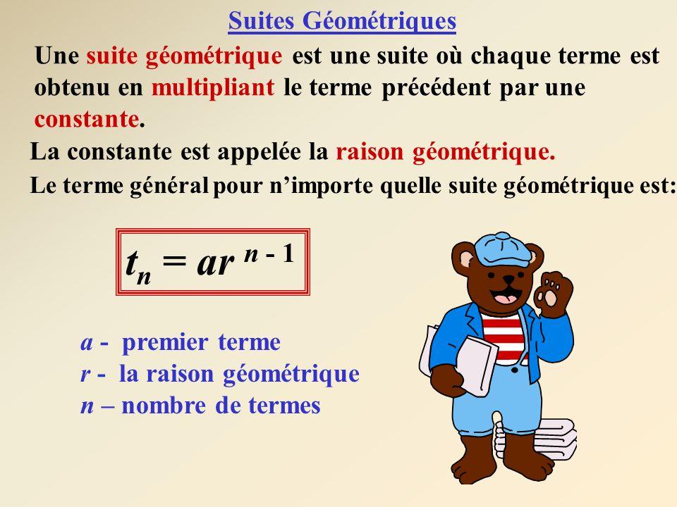 Une suite géométrique est une suite où chaque terme est obtenu en multipliant le terme précédent par une constante. La constante est appelée la raison