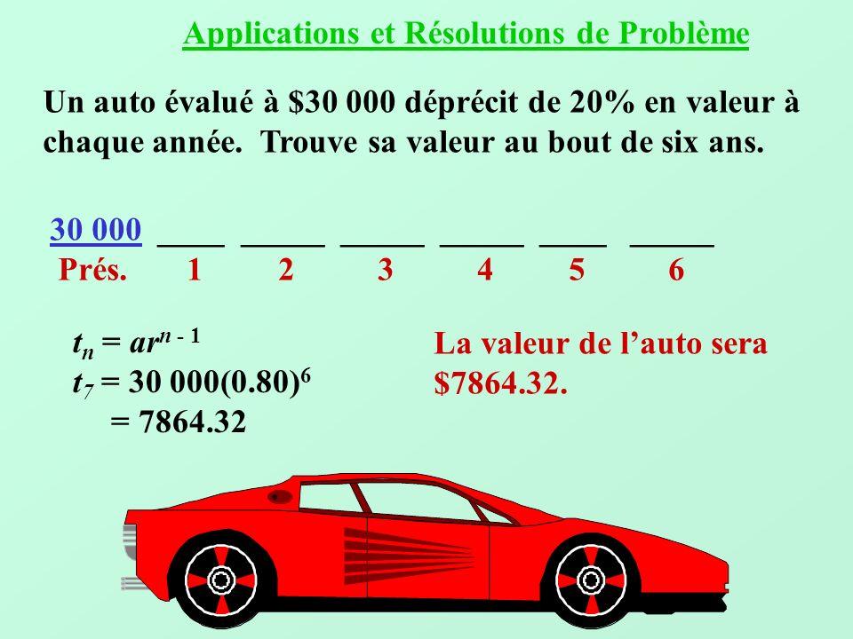Un auto évalué à $30 000 déprécit de 20% en valeur à chaque année. Trouve sa valeur au bout de six ans. 30 000 ____ _____ ____ _____ Prés. 1 2 3 4 5 6