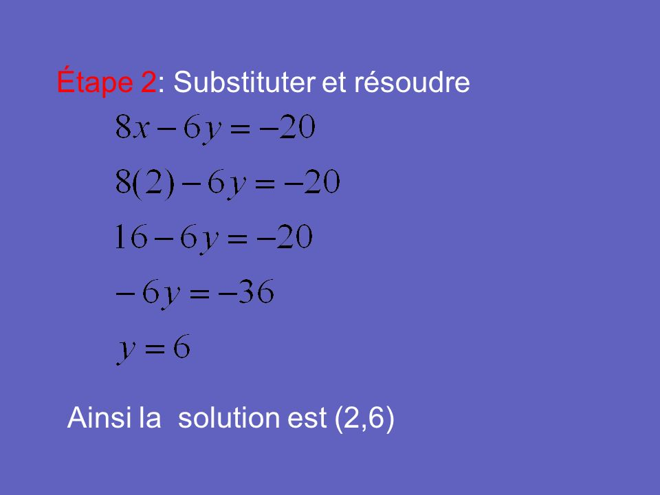Étape 2: Substituter et résoudre Ainsi la solution est (2,6)