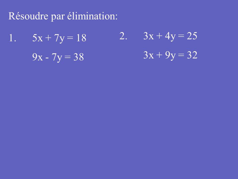Résoudre par élimination: 1. 5x + 7y = 18 9x - 7y = 38 2.3x + 4y = 25 3x + 9y = 32
