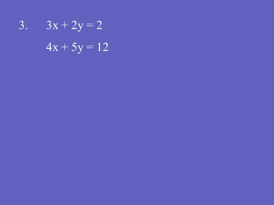 3.3x + 2y = 2 4x + 5y = 12