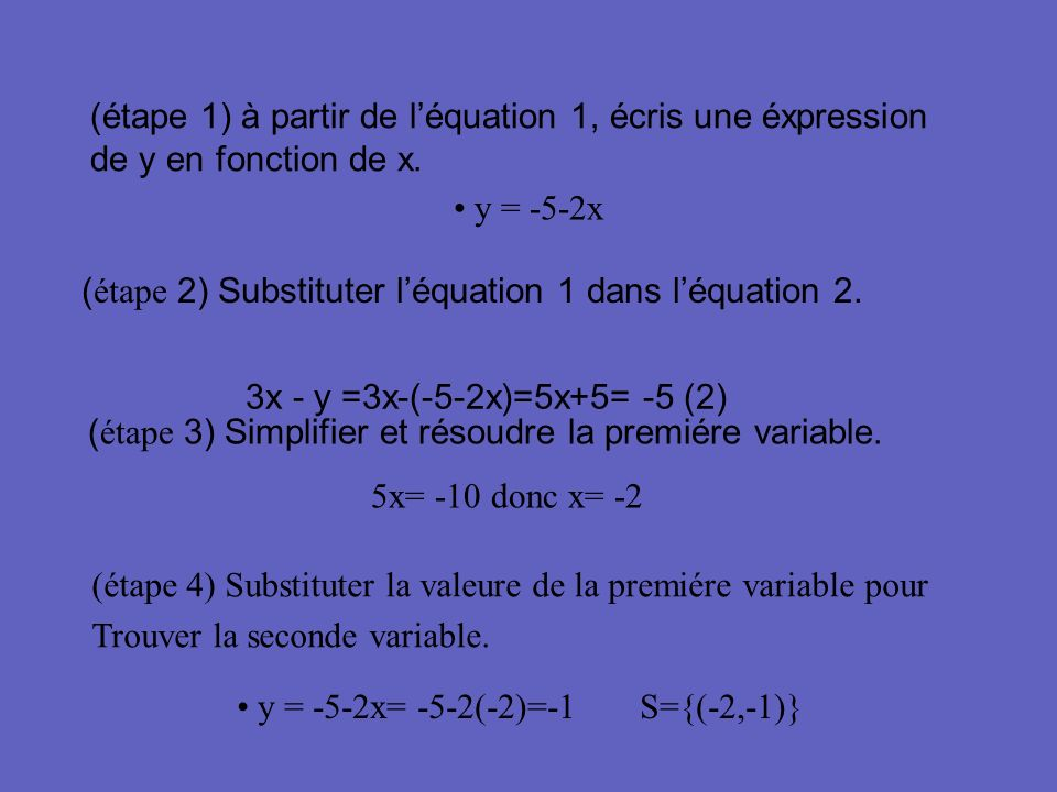 Exemple 1 6x + 2y = 5 (1) 7x + y = 2 (2)