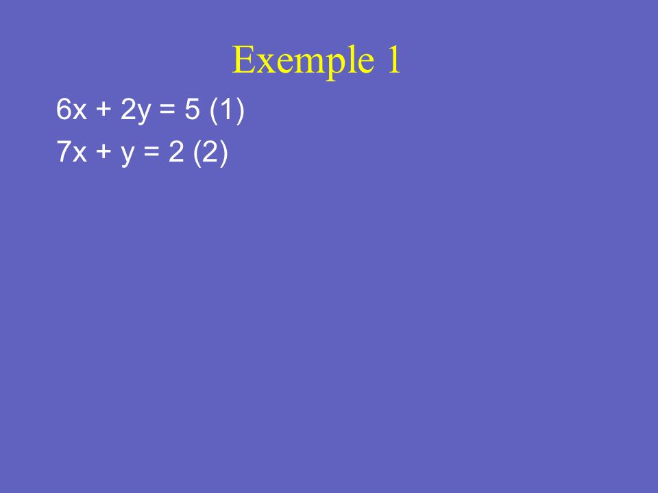 Exemple 2 2x - y = 13 (1) x + 2y = -6 (2)