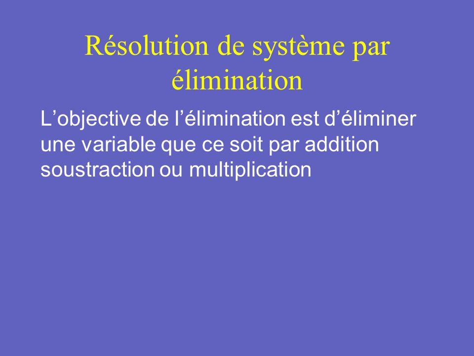 Résolution par Addition Exemple: Résoudre 8x - 6y = -20 (1) 4x + 6y = 44 (2) Étape 1: chercher la variable quil est facile déliminer par addition soustraction ou multiplication.