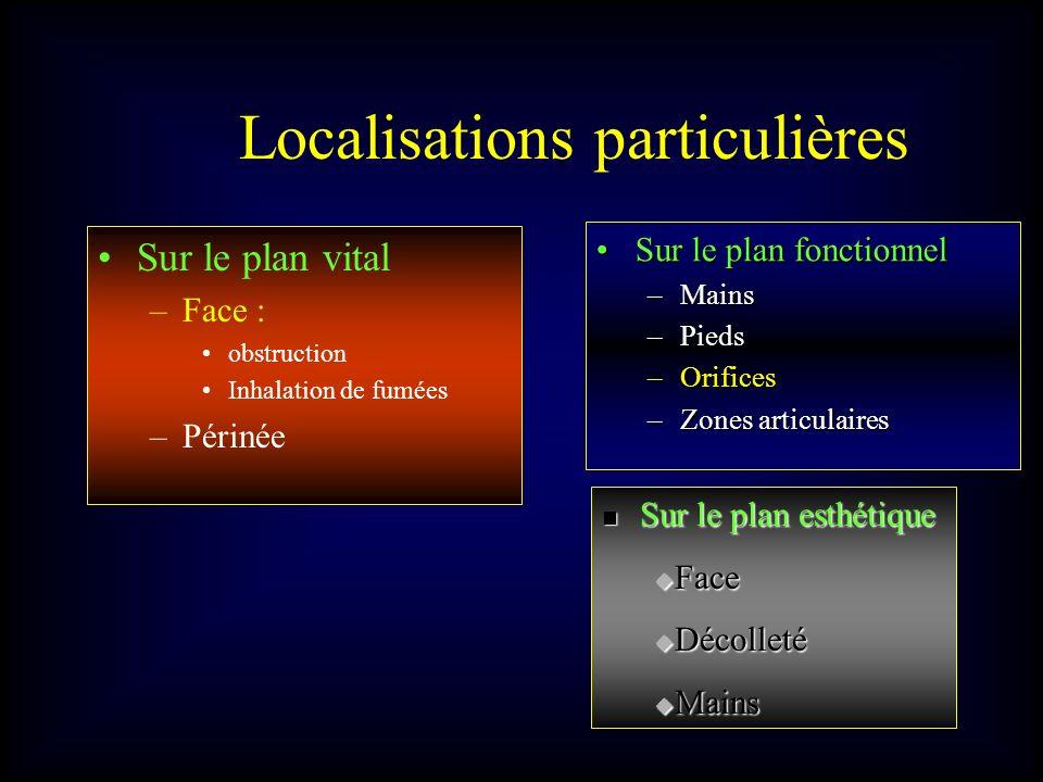 Localisations particulières Sur le plan vital –Face : obstruction Inhalation de fumées –Périnée Sur le plan fonctionnelSur le plan fonctionnel –Mains