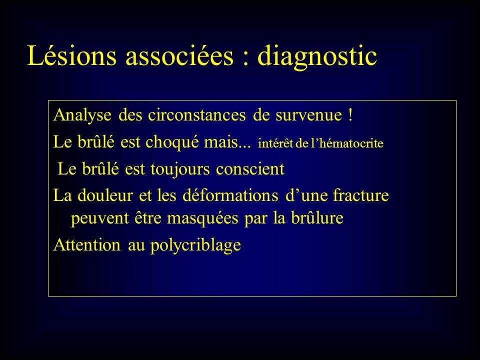 Lésions associées : diagnostic Analyse des circonstances de survenue ! Le brûlé est choqué mais... intérêt de lhématocrite Le brûlé est toujours consc