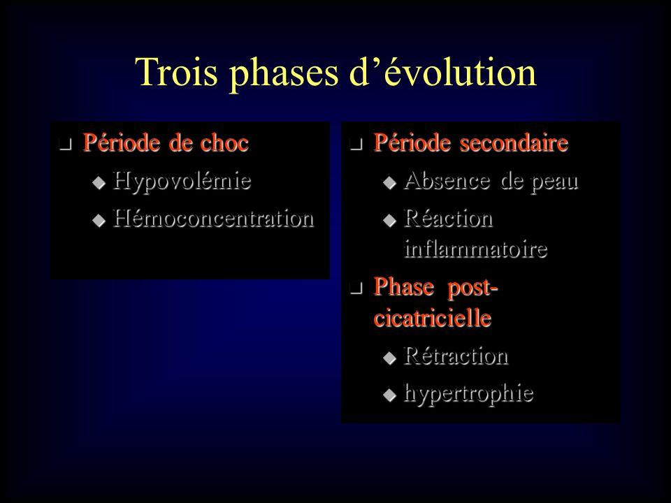 Trois phases dévolution Période de choc Période de choc Hypovolémie Hypovolémie Hémoconcentration Hémoconcentration Période secondaire Période seconda