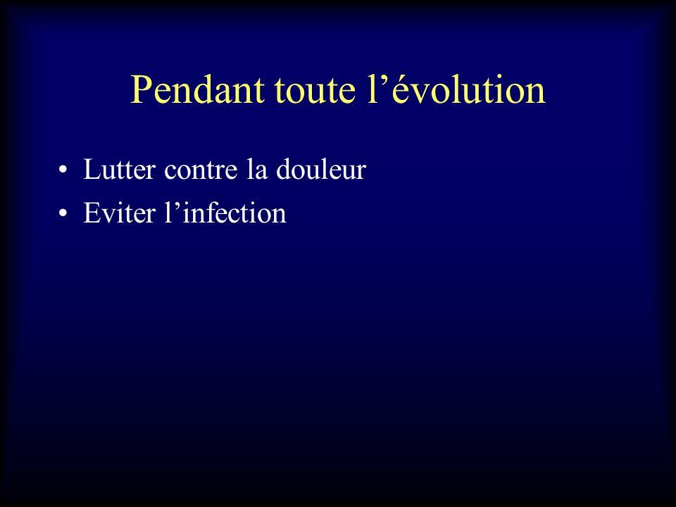 Pendant toute lévolution Lutter contre la douleur Eviter linfection