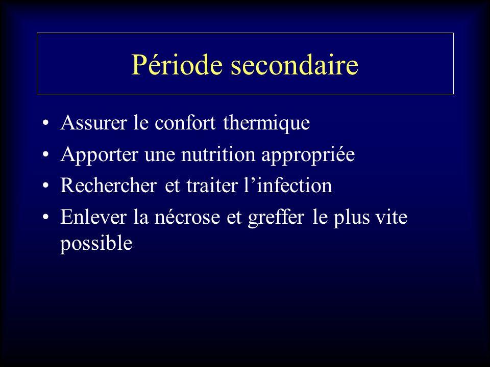 Période secondaire Assurer le confort thermique Apporter une nutrition appropriée Rechercher et traiter linfection Enlever la nécrose et greffer le pl