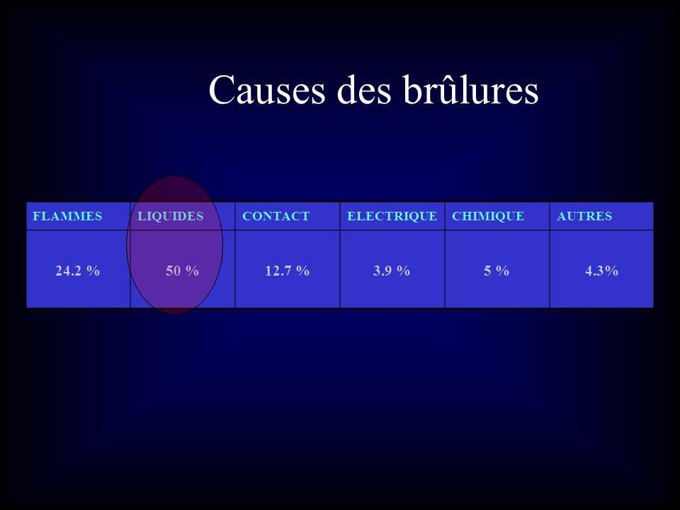 Causes des brûlures FLAMMESLIQUIDESCONTACTELECTRIQUECHIMIQUEAUTRES 24.2 %50 %12.7 %3.9 %5 %4.3%