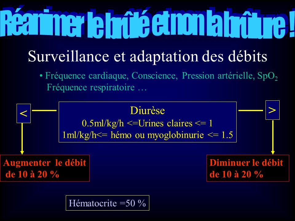 Surveillance et adaptation des débits Fréquence cardiaque, Conscience, Pression artérielle, SpO 2 Fréquence respiratoire … Diurèse 0.5ml/kg/h <=Urines