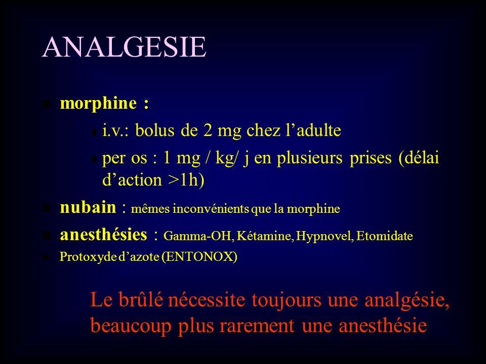 ANALGESIE morphine : i.v.: bolus de 2 mg chez ladulte per os : 1 mg / kg/ j en plusieurs prises (délai daction >1h) nubain : mêmes inconvénients que l