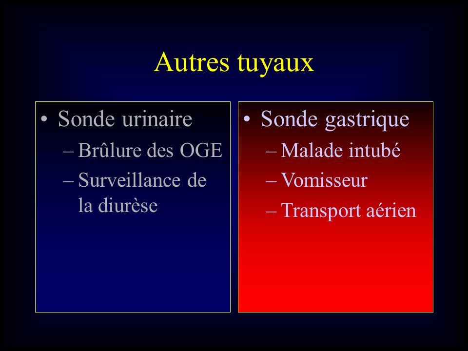 Autres tuyaux Sonde urinaire –Brûlure des OGE –Surveillance de la diurèse Sonde gastrique –Malade intubé –Vomisseur –Transport aérien