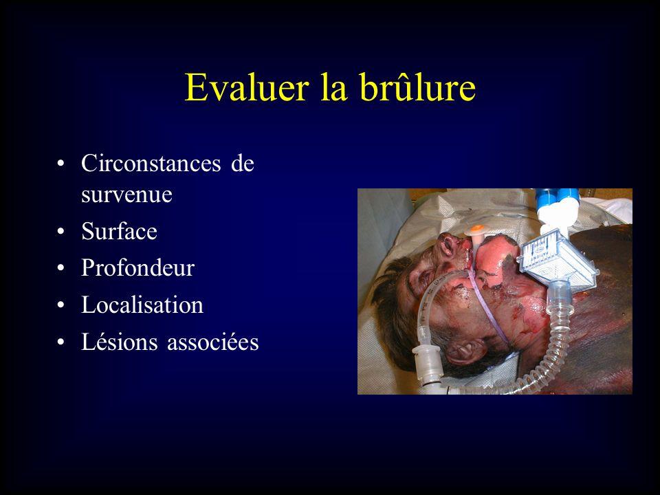 Evaluer la brûlure Circonstances de survenue Surface Profondeur Localisation Lésions associées