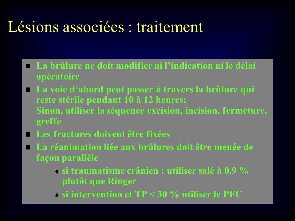Lésions associées : traitement La brûlure ne doit modifier ni lindication ni le délai opératoire La voie dabord peut passer à travers la brûlure qui r