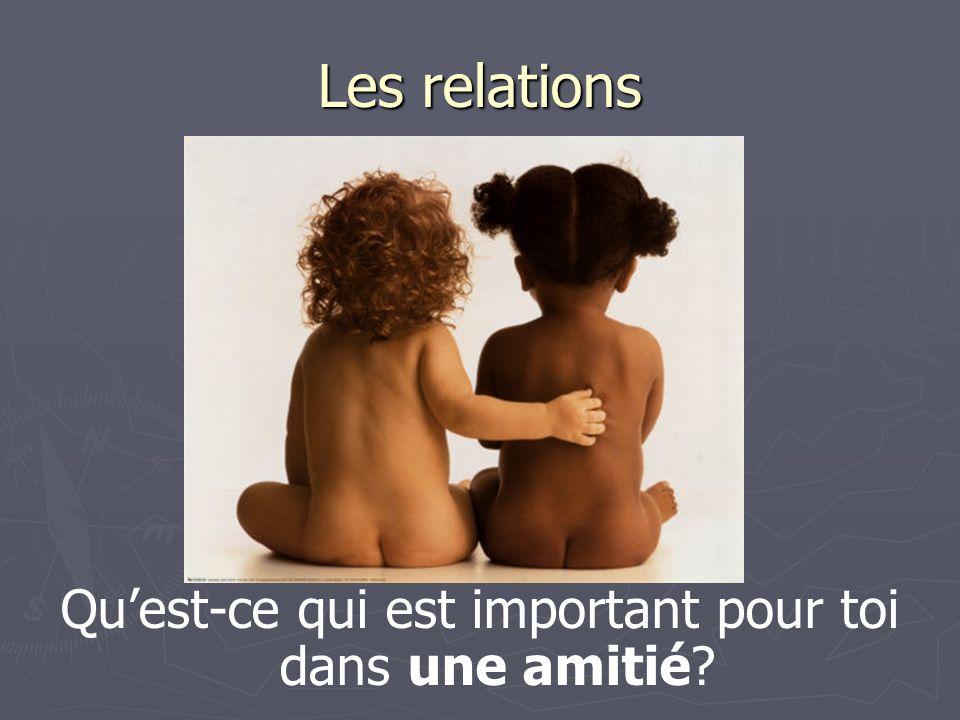 Les relations Quest-ce qui est important pour toi dans une amitié?