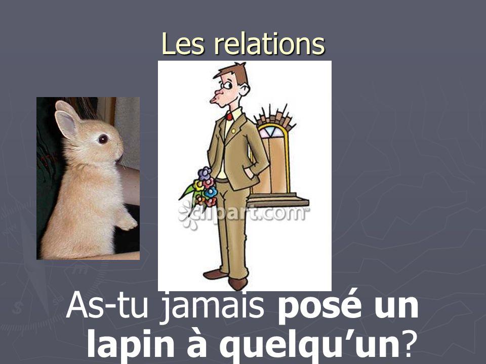 Les relations As-tu jamais posé un lapin à quelquun?