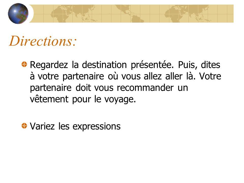 Modèle E1: Je vais en France pour lété.Quest-ce je dois prendre.