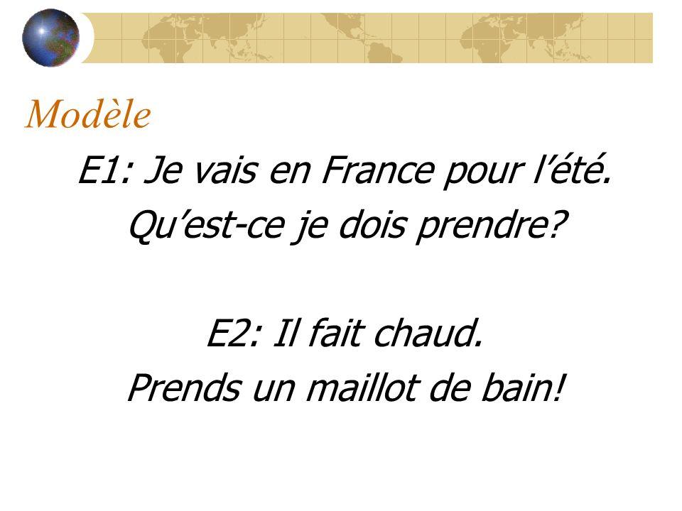 Modèle E1: Je vais en France pour lété. Quest-ce je dois prendre.