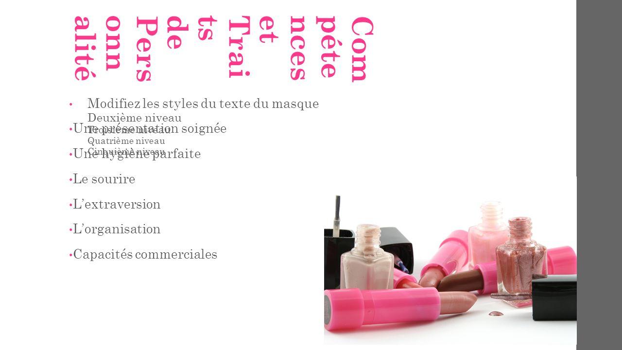 Modifiez les styles du texte du masque Deuxième niveau Troisième niveau Quatrième niveau Cinquième niveau LAccèsauMétier Niveau scolaire: CAP esthétique-cosmétique-parfumerie.