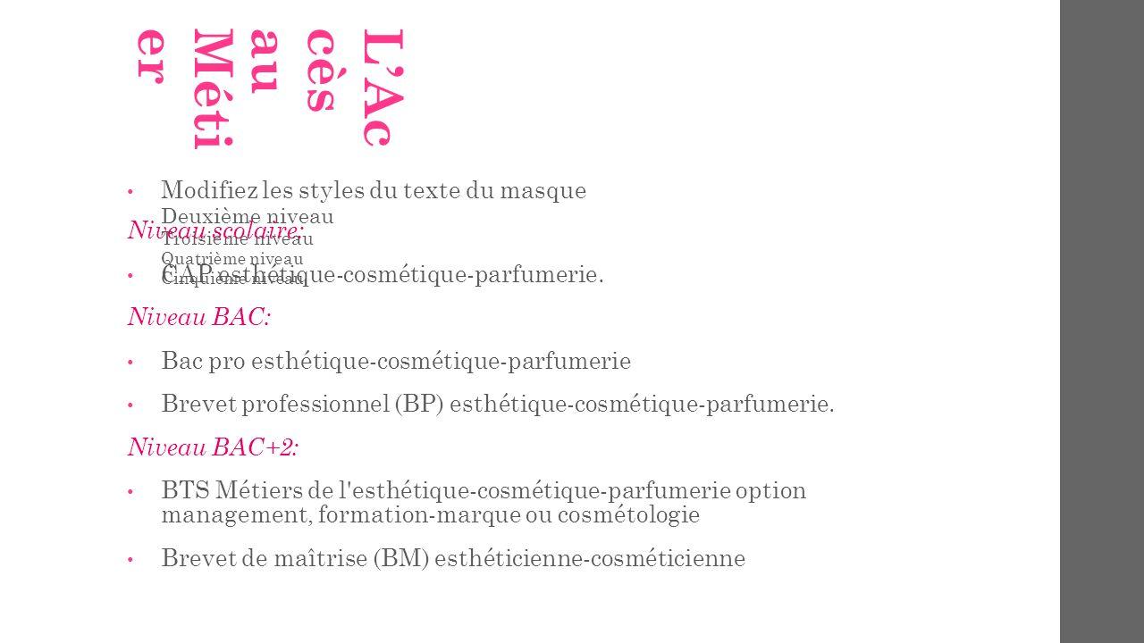 Modifiez les styles du texte du masque Deuxième niveau Troisième niveau Quatrième niveau Cinquième niveau LAccèsauMétier Niveau scolaire: CAP esthétiq