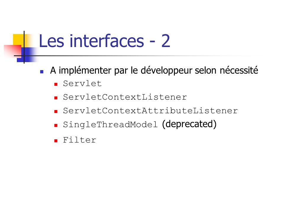 Les interfaces - 2 A implémenter par le développeur selon nécessité Servlet ServletContextListener ServletContextAttributeListener SingleThreadModel (