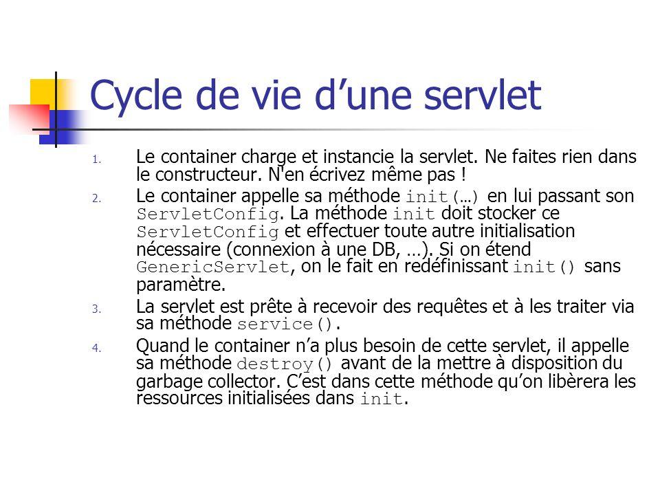 Cycle de vie dune servlet 1. Le container charge et instancie la servlet. Ne faites rien dans le constructeur. N'en écrivez même pas ! 2. Le container