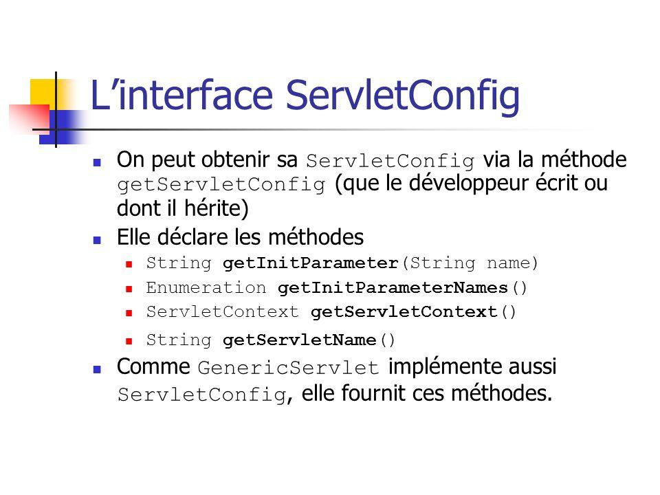 Linterface ServletConfig On peut obtenir sa ServletConfig via la méthode getServletConfig (que le développeur écrit ou dont il hérite) Elle déclare le