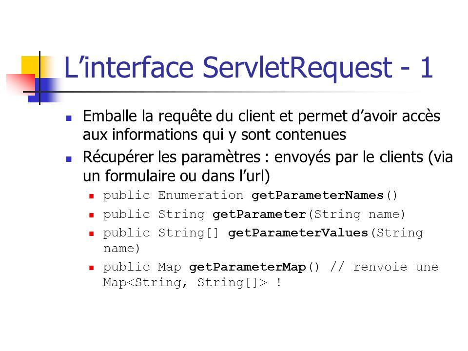 Linterface ServletRequest - 1 Emballe la requête du client et permet davoir accès aux informations qui y sont contenues Récupérer les paramètres : env