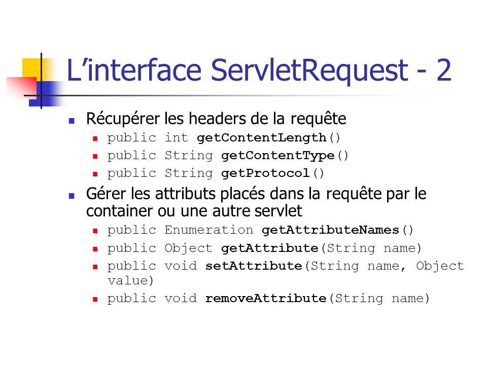 Linterface ServletRequest - 2 Récupérer les headers de la requête public int getContentLength() public String getContentType() public String getProtoc