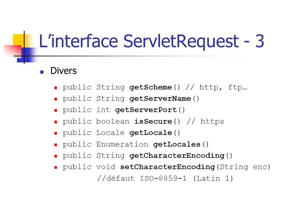 Linterface ServletRequest - 3 Divers public String getScheme() // http, ftp… public String getServerName() public int getServerPort() public boolean i