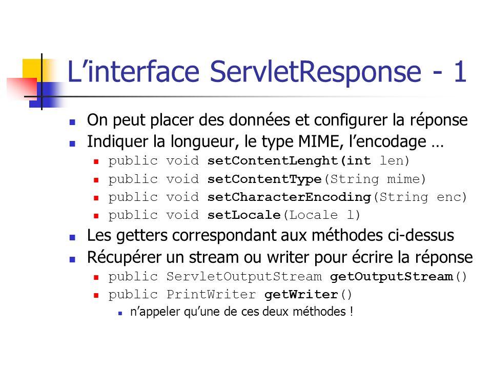 Linterface ServletResponse - 1 On peut placer des données et configurer la réponse Indiquer la longueur, le type MIME, lencodage … public void setCont