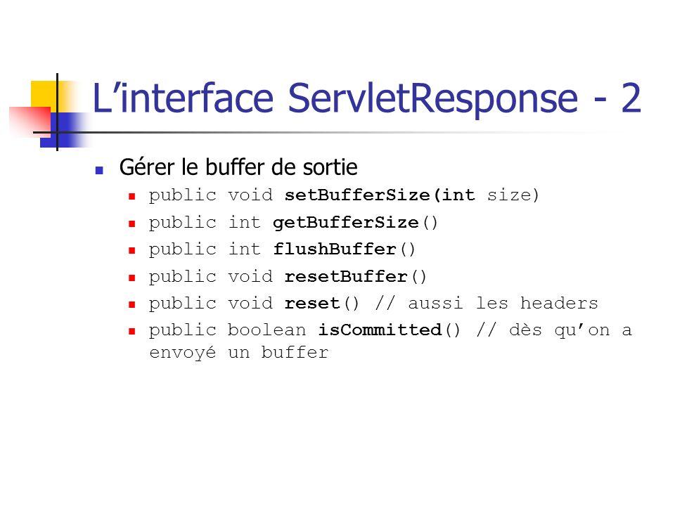 Linterface ServletResponse - 2 Gérer le buffer de sortie public void setBufferSize(int size) public int getBufferSize() public int flushBuffer() publi