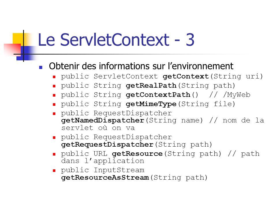 Le ServletContext - 3 Obtenir des informations sur lenvironnement public ServletContext getContext(String uri) public String getRealPath(String path)