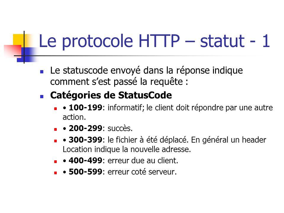 Le protocole HTTP – statut - 1 Le statuscode envoyé dans la réponse indique comment sest passé la requête : Catégories de StatusCode 100-199: informat
