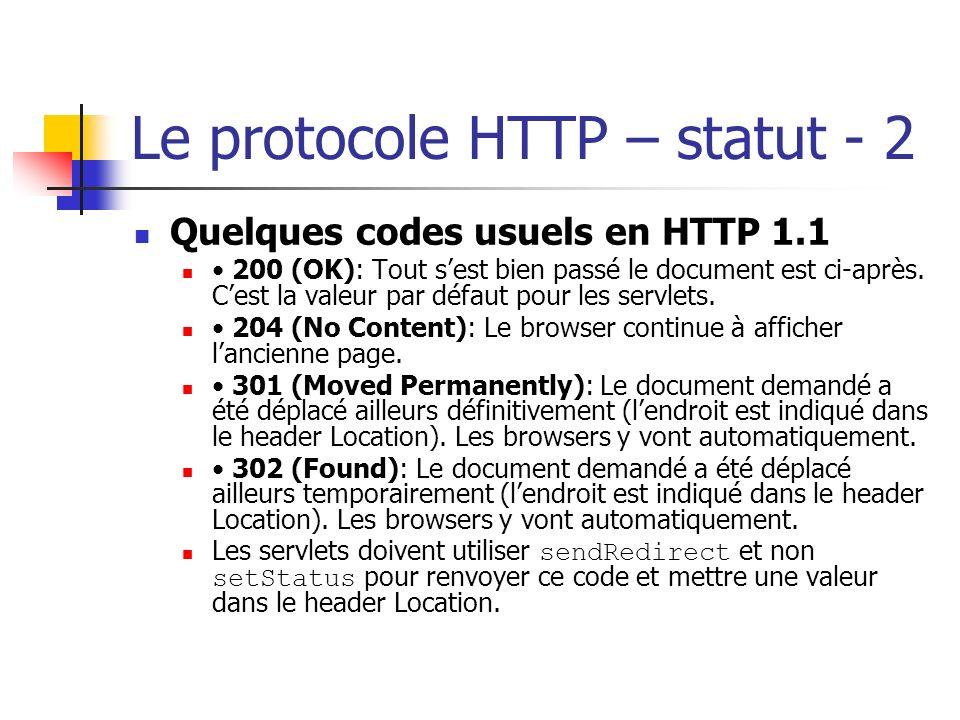 Le protocole HTTP – statut - 2 Quelques codes usuels en HTTP 1.1 200 (OK): Tout sest bien passé le document est ci-après. Cest la valeur par défaut po