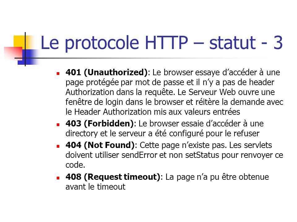 Le protocole HTTP – statut - 3 401 (Unauthorized): Le browser essaye daccéder à une page protégée par mot de passe et il ny a pas de header Authorizat